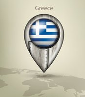 map marker steel with glare and shadows greece