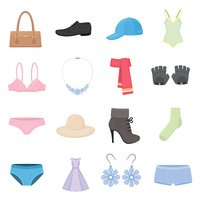 Clothing set of vector icons. Fashion clothes in cartoon style.