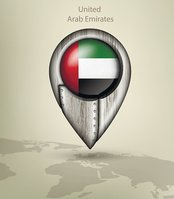 map marker steel with glare and shadows united arab emirates