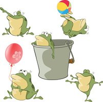 Set of Cartoon Illustration Cute Green Frogs for you Design