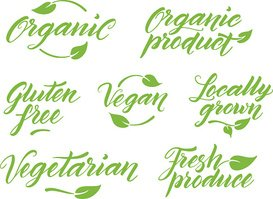 Hand drawn healthy food letterings. Label template