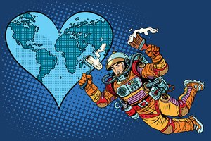 Environment day, Earth heart and the astronaut