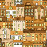 Old town vintage seamless pattern background