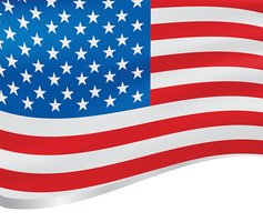 Waving flag of USA vector background