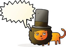 cartoon lion in top hat with speech bubble