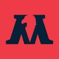 M letter icon with eagle negative space.