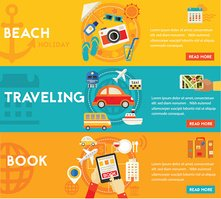 Traveling Concepts - Beach, Sightseeing, Searching and Booking, Tourism. Flat