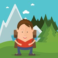 Funny man tourist in cartoon style in forest with mountains