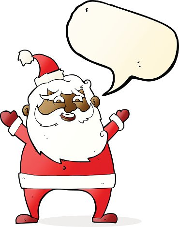 jolly santa cartoon with speech bubble