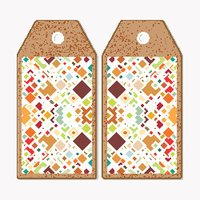 Vector tags design on both sides, cardboard sale labels. Material