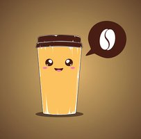 Coffee cup illustration and coffee bean bubble speech.