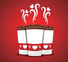 Cute hot big packaging coffee cups illustration. Love ,heart cart
