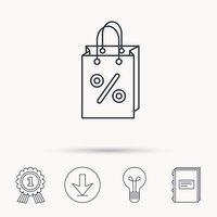Shopping bag icon. Sale and discounts sign.