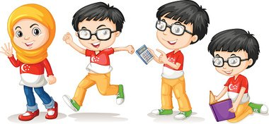 Singapore boy and girl in different actions
