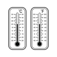 Linear flat icons of thermometers for weather. Scale Celsius, Fahrenheit.