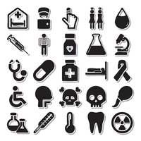 Health In the hospital icon set