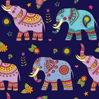 Doodle colorful elephants seamless pattern