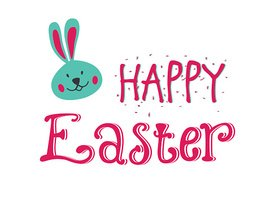 Happy Easter card. Easter hand lettering. Hand calligraphy with rabbit.