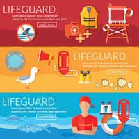 Lifeguards banner professional lifeguard on the beach