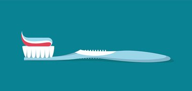 Toothbrush with toothpaste  flat design.