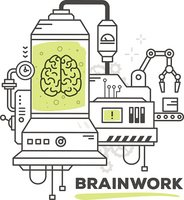 Vector illustration of creative professional mechanism of brain work