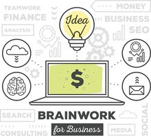 Vector illustration of creative professional process of brain work