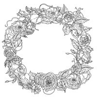 Hand drawing wreath Black and white. Flower mandala