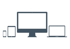 mockup gadget and device icons set gray color