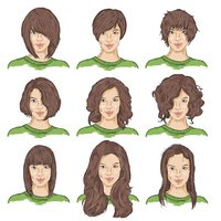 Vector Set of Color Sketch Female Faces
