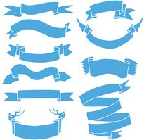 Vector Set of Blue Ribbons for Your Text
