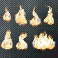 Realistic fire flames set vector on transparent background