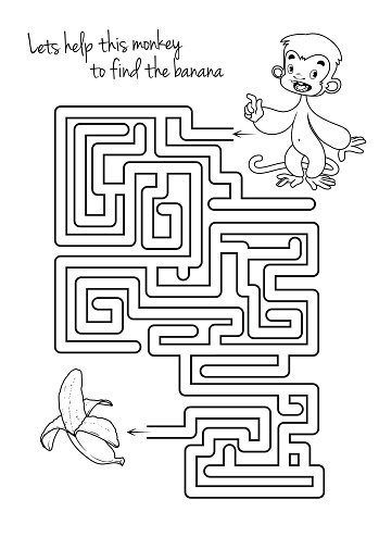 Maze Game for Kids With Monkey and vectores en stock