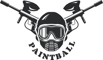 Paintball emblem - mask and two crossed markers