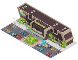 Shopping Center Mall Complex Isometric Composition