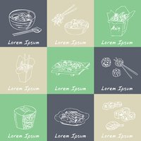 Asian Food. Decorative chinese food icons set