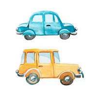 set of two cars on white background