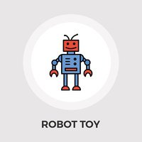 Robot toy vector flat icon