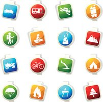Active recreation icons set
