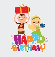 Happy birthday card with two friends of girl and boy