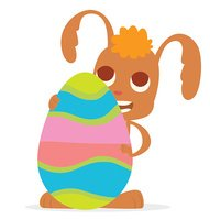 Funny Easter Bunny standing behind a big colorful egg