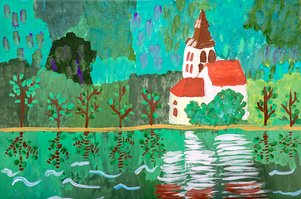 """Children's drawing """"The Castle on the River"""""""