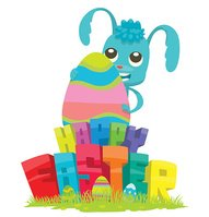 Card 'Happy Easter', bunny hugging big colorful egg