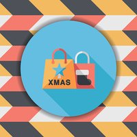 Christmas shopping bag flat icon with long shadow,eps10