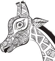 Hand drawn Illustration of ornamental boho giraffe. African animals