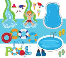 Pool Party Vector Design Illustration.