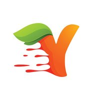 Y letter with orange juice drops and leaves.