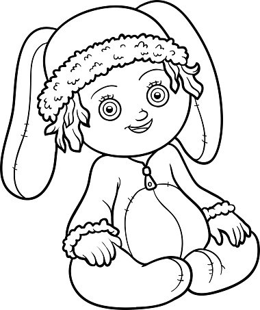 Coloring book. Little girl in a rabbit suit