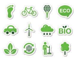 Green, Eco Recycling Sign Labels Icons Set