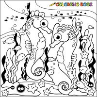 Seahorses swimming underwater coloring book page