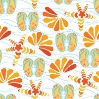 Seamless pattern with slippers, sea star and shells on the